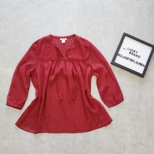 NWOT Lucky Brand Red Sheer Blouse with Tassels